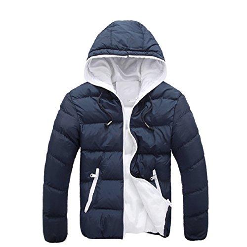 Vovotrade Dünne beiläufige warme Jacke der Männer mit Kapuze Winter-starker Mantel-Parka-MantelHoodie (EU Size:36(M), Marrine) -