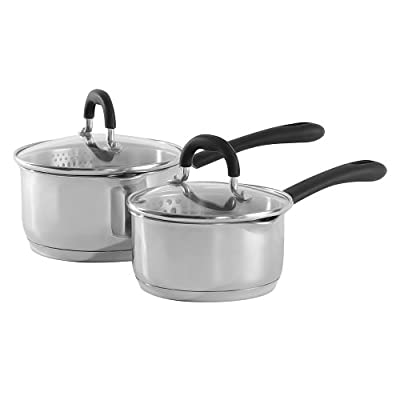 ProCook Gourmet Stainless Steel Strain & Pour Saucepan Set - 2 Piece - Induction Pans with Toughened Glass Lids and Non-Slip Stay-Cool Handles by ProCook