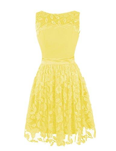 Dressystar Damen Kurz Spitze Cocktailkleid Abendkleid Gelb