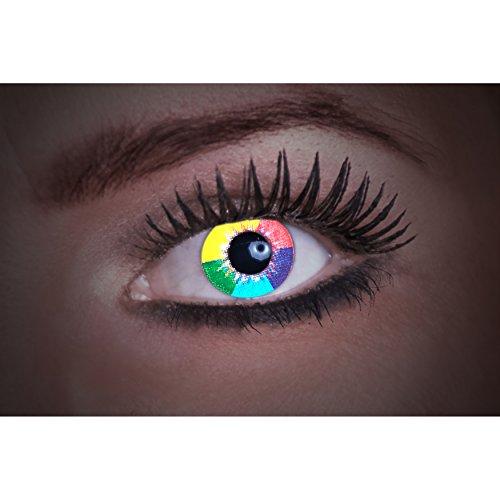 Eyecatcher Diamond UV, Farbige Kontaktlinsen, Rainbow, Leuchten im Schwarzlicht, 1er Pack (1 x 2 Stück)