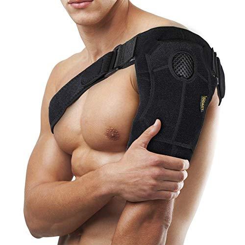 Doact Neopren Verstellbare Schulterbandage für Verletzungsprävention, verschobenes AC-Gelenk, gefrorene Schulterschmerzen, arthritische Schultern, passt für beide linke rechte Schulter (Schwarz)