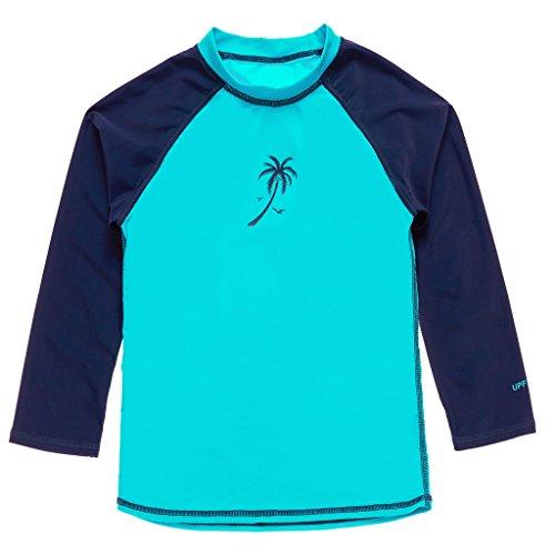Attraco Mädchen Bademode UV-Schutz Langarm Shirt Rash Guard Oberteil UPF 50+ Blau 7-8 Jahre (Shirt Blau Guard)
