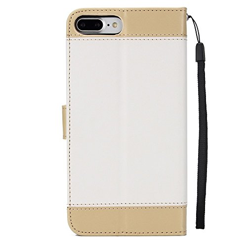 JIALUN-Telefon Fall Mit Card Slot, Lanyard, geprägte Mode Open Handy Shell für IPhone 7 Plus / 8 Plus ( Color : Purple ) White