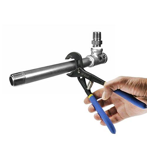 S&R Automatische Wasserpumpenzange – patentierter Schnellspannmechanismus, CR-V, doppelt ummantelte Griffe, 240 mm, Rohre bis 35 mm - 6