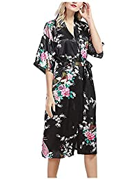 Mujer Kimono Fashion Elegantes Verano Camisones Exquisito Largos Albornoz Modernas Casual Medias Mangas V-Cuello