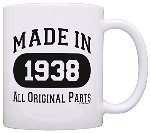 80th Birthday Gifts for Men Made 1938 All Original Parts Funny 80th Birthday Party Supplies Gift Coffee Mug Tea Cup White