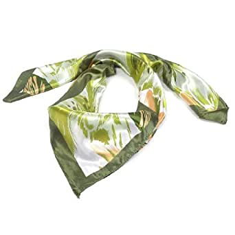 Splash-ink Printed Polyester Square Neck Scarf Wrap Kerchief for Lady
