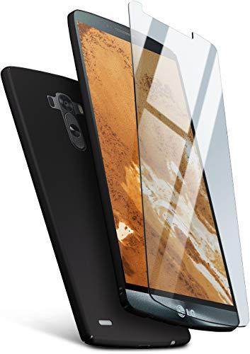 moex 360 Grad Rundum-Schutz [Case + Panzerglas] für LG G3 | Extrem dünne Handyhülle in Schwarz inkl. kristallklare Schutzfolie aus Hartglas Case Protective Film
