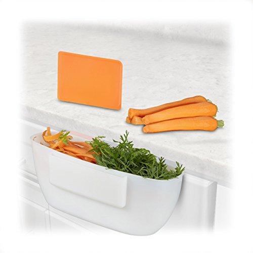 Platte Schranktüren (Relaxdays Auffangschale für Küchenabfälle, Abfallbehälter mit Spachtel, Abfallsammler 2Liter, HxBxT: 10x27,5x16 cm, weiß)
