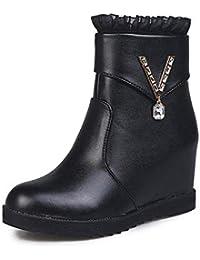 FuweiEncore Bottes Dames Chaussures Cheville Bottes Femmes Hiver Chaud Plat  métal Cristal Dentelle Fermeture éclair Bottes 49815d72ab18