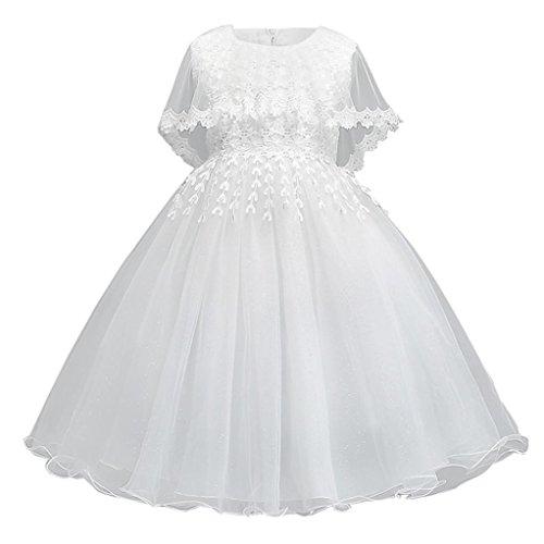 ❥Elecenty Prinzessin Baby Kleid,Kinder Mädche Kleider Bowknot Spitzenkleid Partykleid Tüllkleid Mode Tutu Blumenspitze Maxikleid Ärmellos Ballkleid Abendkleider Hochzeitskleid (120, Weiß) (Ärmellos Entwurf)