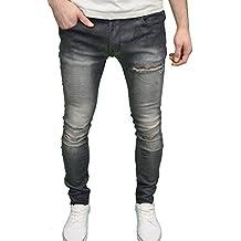 SoulStar para hombre funda de elástico Super Skinny Fit Ripped Jeans