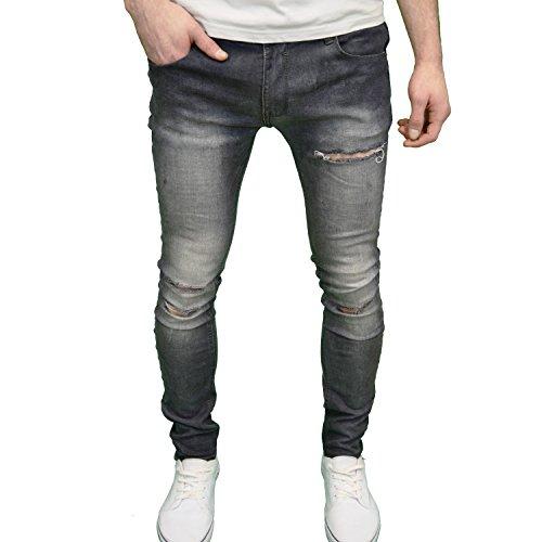 Soulstar, jeans da uomo, di marca, stile elasticizzato con vestibilità super skinny, strappati black blast w32 / l32