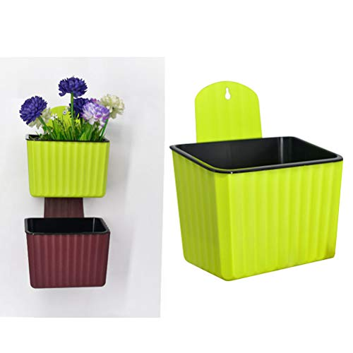 Yardwe fioriere da appendere a parete per piante da interno o da esterno decor fioriera da parete in plastica vaso da balcone vasi da appendere (verde)