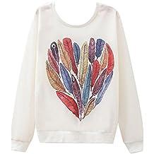 Gladiolus Donna Moda T-shirt Stampa Geometrica Manica Lunga Allentata Casuale Camicetta Maglietta