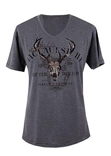 Trachtenshirt Trachten-T-Shirt T-Shirt Herren mit Hirsch Baumwolle - Grau