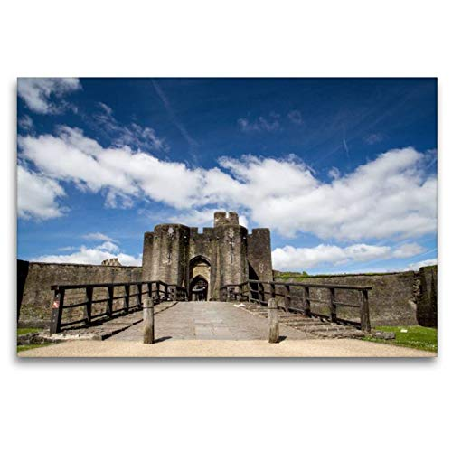 Calvendo Premium Textil-Leinwand 120 cm x 80 cm quer, Caerphilly Castle | Wandbild, Bild auf Keilrahmen, Fertigbild auf echter Leinwand, Leinwanddruck: Wales Natur Natur -