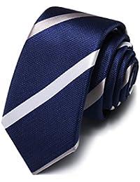 486c54519 HXCMAN 5cm navy Azul rayas corbata estrecho diseño clásico 100% seda corbata  hombres partido de