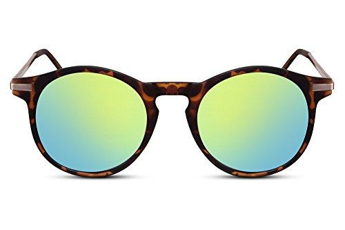 Cheapass Sonnenbrille Braun Runde Gläser Verspiegelt Leo-Print Metall UV400 Unisex