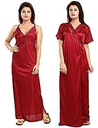 Noty - Women's Satin Nighty - 2 Pc- Nighty with Robe (Maroon)