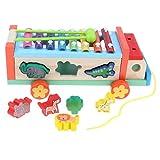 FLAMEER Kinder Handwagen Ziehwagen Bollerwagen Leiterwagen Lernspielzeug, 28 x 10 x 7 cm, aus Holz