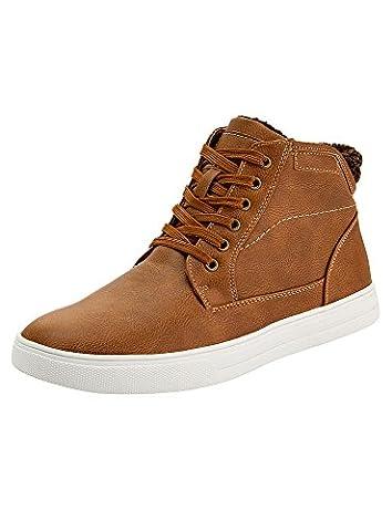 oodji Ultra Homme Chaussures en Similicuir avec Finition Contrastante, Marron,