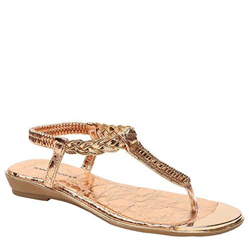 Ideal Shoes - Sandales plates avec bride tressée et strass Gloriana Champagne