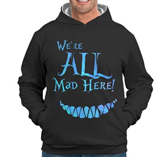NeiBangM Herren Unisex Hoodie Sweatshirt Wir sind alle verrückt Hier Slim Sweat Hoodie Für Mädchen White m