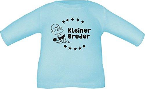 Baby / Kinder T-Shirt langarm mit Druck Kleiner Bruder / Größe 60 - 152 in 6 Farben Hellblau