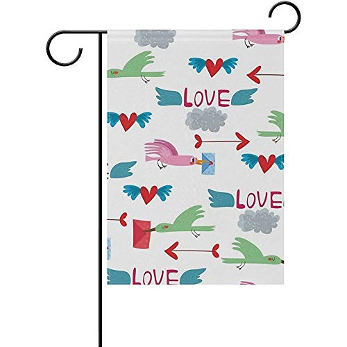 Love Birds Garden Flag (Desing shop Love Bird Garden Flag Decorative Flag Yard Home Wedding Garden Decor 100% Polyester Printed on Both Sides 12.5x18 inches)