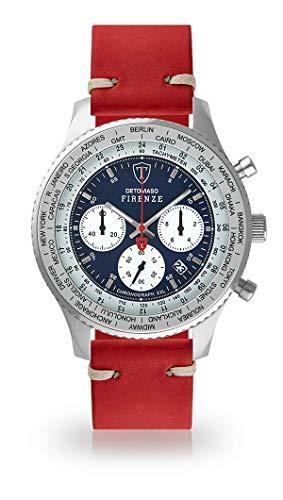 DETOMASO Firenze XXL Herren-Armbanduhr Chronograph Analog Quarz Silbernes Edelstahl-Gehäuse Blaues Zifferblatt (Leder - Rot (Vintage Style))