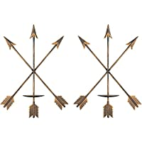 "smtyle DIY Arrow Candle Holders Set of 2 for Wall Decor 3.5"" Diameter Ideal for Pillar LED Candles with Rustic Gold Iron"