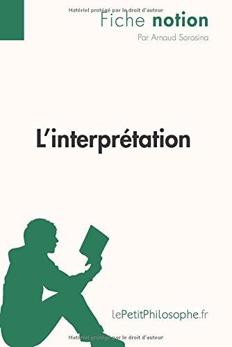 L'interprétation (Fiche notion): Lepetitphilosophe.Fr - Comprendre La Philosophie