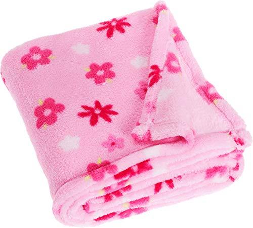 Playshoes Baby und Kinder Fleece-Decke, vielseitig nutzbare Kuscheldecke für Jungen und Mädchen, 75 x 100 cm, mit Blumen-Muster -