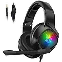 Gaming Headset Xbox one PS4 PC Mac Over Ear Headphones Stereo Surround Sound with Noise Cancellation Microphone & In-Line Control Volume LED Light for Nintendo Switch PSP Laptop Tablet Smartphones