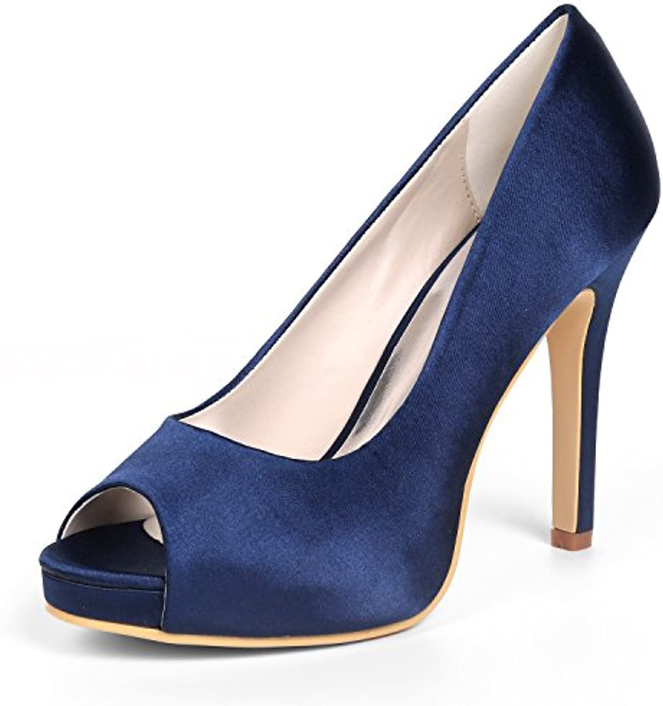 Qingchunhuangtang@ Stiletto high heels/satinado/open toe/impermeable/plataforma zapatos boca de pescado de gran...