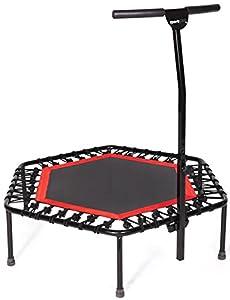 SportPlus Fitness Trampolin, Bungee-Seil-System, Ø 110 cm, bis 130 kg Benutzergewicht, TÜV Süd Sicherheit geprüft, rot