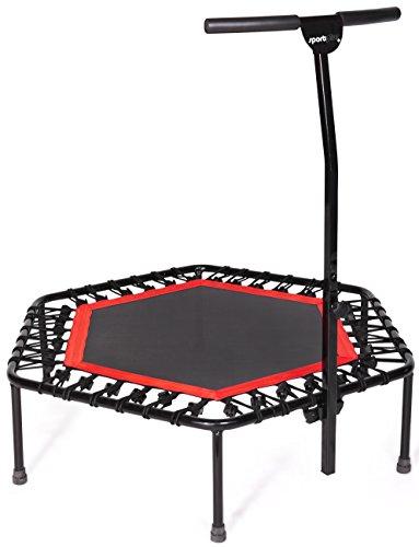 Image of SportPlus Fitness Trampolin, Bungee-Seil-System, Ø 110 cm, bis 130 kg Benutzergewicht, TÜV Süd Sicherheit geprüft, rot