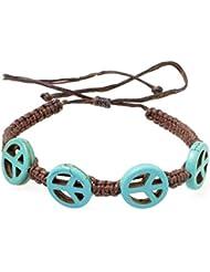 PAPAYANA Hippes Leder-Armband besetzt mit türkisen Steinen in PEACE-Form