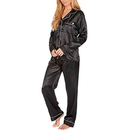 Pour Femmes Satin Silky Chemise Pyjamas Vêtement De Loisirs Vêtements De Nuit Pyjama Présent De Mariage Cadeau Noël Grandes Tailles Noir