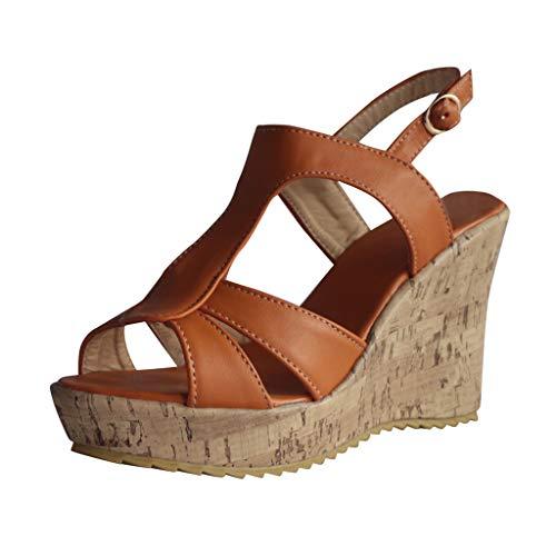 Bellelove Damen Keilsandalen Casual Sandalen Damen Peep Toe Strandschuhe Sandaletten mit Knöchel Schnalle Sommer Pantoletten 35-43 -