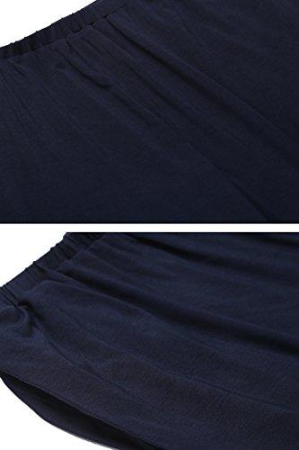 Damen Stillpyjama Stillnachthemd für Schwangere kurzarm Zweiteiliger Umstandsmode stillschlafanzug Umstandspyjama für Schwangerschaft und Stillzei Marineblau