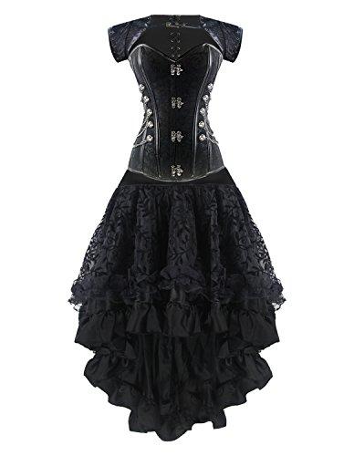 Burvogue Damen Steampunk Gothic Corsage Kleid Lang Rock Corsagenkleid (L, P-20024)