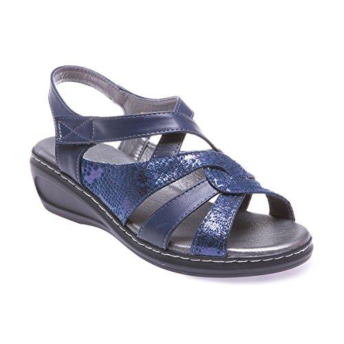 La Modeuse - Sandales en simili cuir à talons compensés Bleu