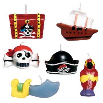 Mini-Kerzen Piraten-Schätze, 6 Stk. (Pirata Fantasia Halloween De)