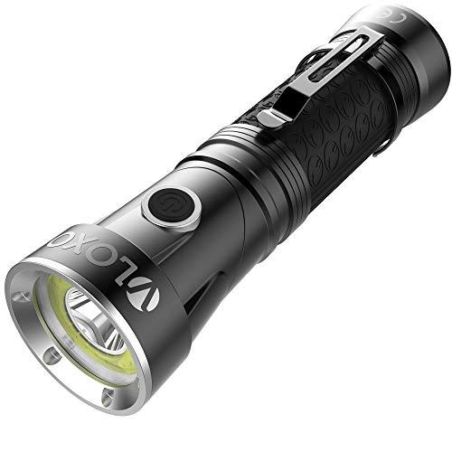 VLOXO Wasserdichte Ultra Hell LED Taschenlampe - Tragbare Handlampe mit drehbares Kopf, 800 Lumens T6 + COB 4 Lichtmodi für Wandern Camping Haushalt Notfälle, Schwarz