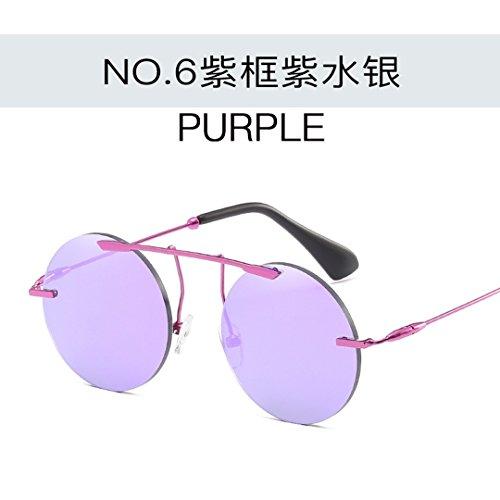 JUNHONGZHANG Persönliche Sonnenbrille Runde Rahmenfarbe Sonnenbrille Nacht Brille Damen Metall Gläser, Lila Gerahmte Lila Wasser