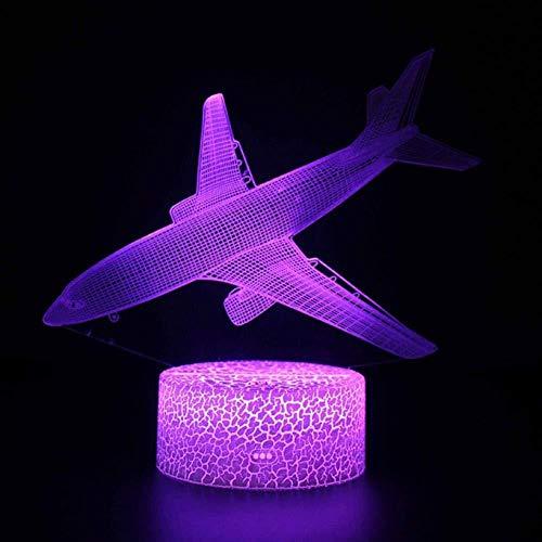 Veilleuses pour enfants Dessin animé télécommande avion 3D lumière LED lampe de bureau illusion veilleuse 7 changement de couleur lumière d ambiance USB lumière enfant cadeau d anniversaire de Noël