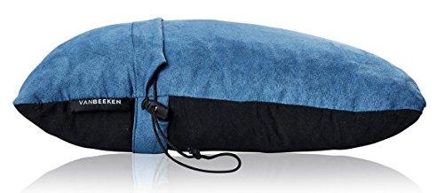 Reise-Nackenkissen Reise-Kissen - komprimierbares Nackenstützkissen aus geschreddertem Memory Foam, Outdoor Camping-Kissen mit Schlafmaske, Tragetasche - VAN BEEKEN Reise-Kopfkissen Travel Pillow