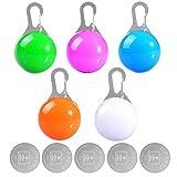Allecommercial Clip-On Haustier-LED-Blinklicht für Hundehalsband, Wasserdichte Sicherheitsleuchte für Hunde und Katzen bei Nacht, inklusive 5 Ersatzbatterien (5 Stück)